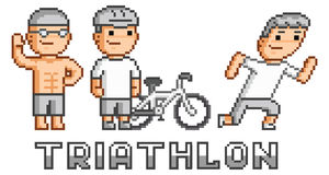 Pixel logo triathlon Royalty Free Stock Photography