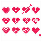 Pixel love. Heart pixel symbol icon stamp love give you valentines day Royalty Free Stock Photos
