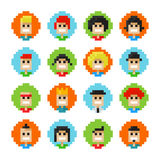 Pixel Male And Female Faces Avatars. 16 Circles Pixel Male And Female Faces Avatars. Vector Illustration. 8 Bit Graphic Style Royalty Free Stock Photo