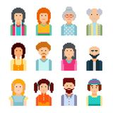 Pixel male and female faces avatars. Vector Illustration. 8 bit graphic style. Vector illustration. Collection of cute colorfull faces Vector Illustration