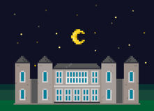 Pixel Mansion with Moon Royalty Free Stock Photo