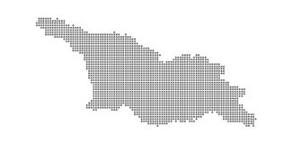 Pixel map of Georgia. Vector dotted map of Georgia isolated on white background. Abstract computer graphic of Georgia map. stock illustration