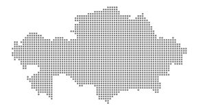 Pixel map of Kazakhstan. Vector dotted map of Kazakhstan isolated on white background. Abstract computer graphic of Kazakhstan map vector illustration