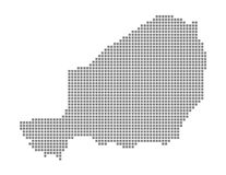 Pixel map of Niger. Vector dotted map of Niger isolated on white background. Abstract computer graphic of Niger map. Vector illustration vector illustration