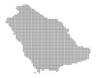 Pixel map of Saudi Arabia. Vector dotted map of Saudi Arabia isolated on white background. Abstract computer graphic of Saudi Arab. Ia map. vector illustration Stock Image