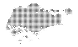 Pixel map of Singapore. Vector dotted map of Singapore isolated on white background. Abstract computer graphic of Singapore map. Vector illustration stock illustration