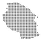 Pixel map of Tanzania. Vector dotted map of Tanzania isolated on white background. Abstract computer graphic of Tanzania map. Vector illustration vector illustration