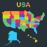 Pixel map of United States of America stock illustration