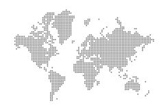 Pixel map of World. Vector dotted map of World isolated on white background. Abstract computer graphic of World map. Vector illustration royalty free illustration