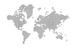 Pixel map of World. Vector dotted map of World isolated on white background. Abstract computer graphic of World map. royalty free illustration