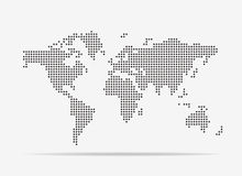 Pixel map of world. Vector illustration. Royalty Free Stock Image
