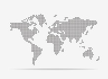 Pixel map of world. Vector illustration. Stock Images