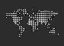 Pixel map of world. Vector illustration. Royalty Free Stock Photography