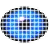 Pixel maping of elliptic eye with blue iris, light reflection in eye Stock Photography