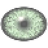 Pixel maping of elliptic green eye. Bright iris, light reflection in eye Stock Photo