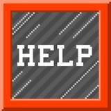 Pixel met 8 bits Art Help Message in de Doos van het Noodsituatieglas EPS8 vector Stock Foto