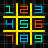 Pixel met 8 bits Art Numbers 1-9 in een Sudoku-Net Royalty-vrije Stock Fotografie