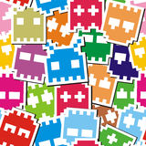 Pixel monster seamless pattern Stock Images