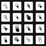 Pixel mouse cursor icons set, simple style. Pixel mouse cursor icons set in simple style. Arrow and hand pointers set collection vector illustration Stock Photography