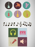 Pixel music icons Royalty Free Stock Photos