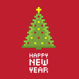 Pixel new year fir tree. Stock Images