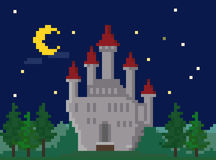 Pixel Night Landscape With Castle Royalty Free Stock Photography