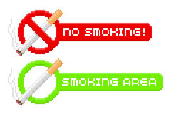 Pixel no smoking and smoking area signs Stock Photography