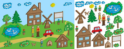 The pixel objects and figures for education and children's games. Isometric projection Royalty Free Stock Images