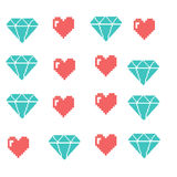 Pixel objects for games icons set. Social Networking Speech Bubbles: Smiley,  Love Royalty Free Stock Images