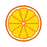Pixel orange fruit detailed illustration isolated vector. Pixel art orange fruit detailed illustration isolated vector stock illustration