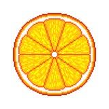 Pixel oranje fruit gedetailleerde illustratie geïsoleerde vector stock illustratie
