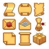 Pixel paper scrolls icons vector set Royalty Free Stock Image