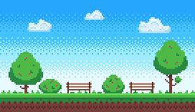 Free Pixel Park. Retro 8 Bit Game Blue Sky, Pixels Trees And Parks Bench Vector Illustration Royalty Free Stock Images - 142245929
