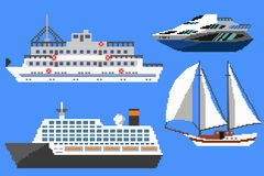 Pixel passenger ships and boats. Set of passenger ships and boats. Pixel art vector illustration Royalty Free Stock Image