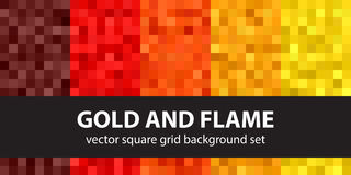 Free Pixel Pattern Set Gold And Flame. Vector Seamless Pixel Art Back Stock Photos - 99129033