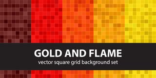 Pixel pattern set Gold and Flame Royalty Free Stock Images