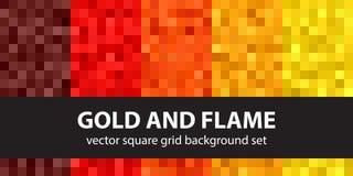 Pixel pattern set Gold and Flame. Vector seamless pixel art back Stock Photos