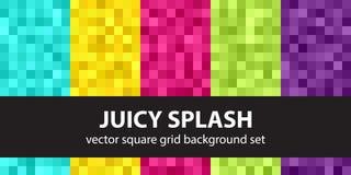 Pixel pattern set Juicy Splash. Vector seamless pixel art backgrounds with cyan, yellow, rose, green, violet squares Royalty Free Stock Photos