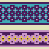 Pixel pattern. Vector set of decorative ribbons, braids with an ornament in folk style Stock Photos