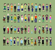 56 pixel people. Of all ages and professions stock illustration