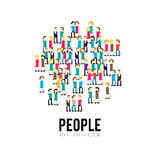 Pixel People. Pixel art 8-bit group of people Stock Photo