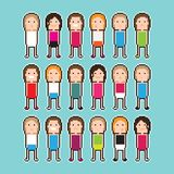 Pixel People. Pixel art people with black and white contour Royalty Free Stock Image