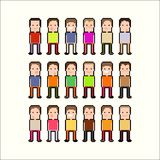 Pixel People. Pixel art people with black and white contour Stock Photography
