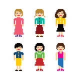 Pixel people avatar set Royalty Free Stock Images