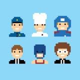 Pixel people avatar set Royalty Free Stock Image