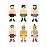 Pixel people boxer avatar set Royalty Free Stock Photos
