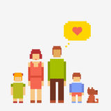 Pixel people family Stock Images