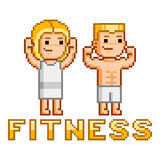 Pixel people and fitness Royalty Free Stock Photos