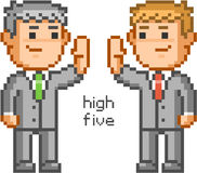 Pixel people and friendly high five Royalty Free Stock Photo