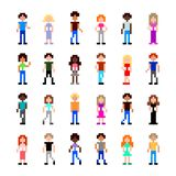 Pixel people for game set detailed illustration isolated vector. Pixel art people for game set detailed illustration isolated vector vector illustration